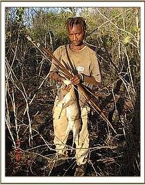 Bushmeat poacher with bows & arrows & dead Dikdik
