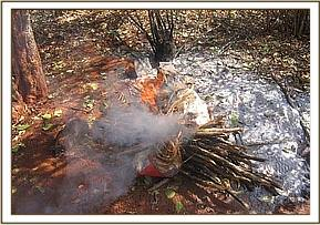 Burning items found in the poachers hideout