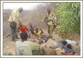 Arrested poachers who were mining in the park