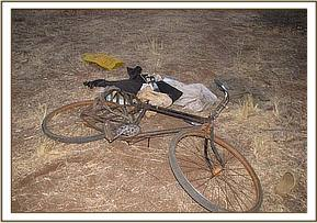 A bicyle belonging to one of the poachers