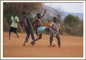 Kasaala youth groups playing football