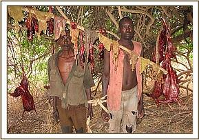 Arrested poachers in their hideout