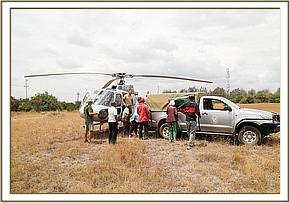 The helicopter and its precious cargo arrive in Nairobi