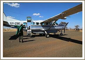 The rescue plane on the airstrip