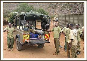 The calf was transported to the Voi Unit stockade compound in the back of the Burra desnaring landrover