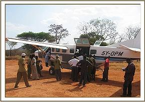 Rescue aircraft on Kilaguni airstrip