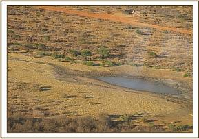A shot from the air of the drying dam that trapped Ithumbah