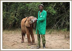 Wanjala having milk