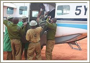 The orphan is loaded into the rescue plane