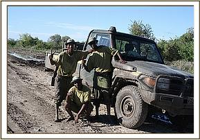 Our relieved keepers having helped get the vehicle out of the mud