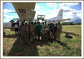 The KWS Rangers and Keepers near the rescue plane