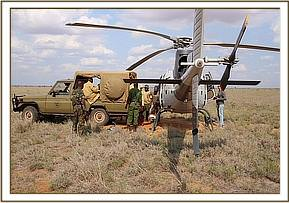 The vehicle is brought close to the helicopter