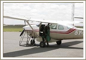 Amos boards the rescue Cessna 206 before departing Nairobi for Namunyak