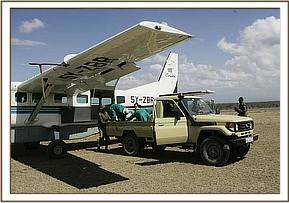 The orphaned elephant and rescue aircraft