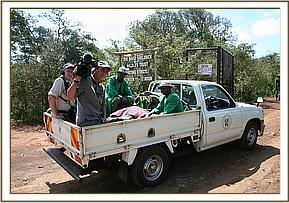 The pickup arrives at the Trust's nursery