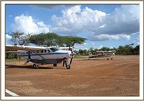 The rescue plane parked on the airstrip in Tsavo West National Park