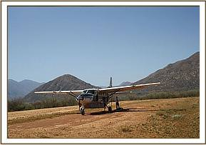 The rescue plane on the Turkwell Airstrip