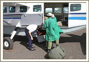 The plane landed in Meru National Park