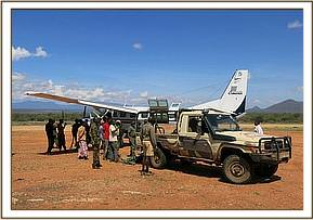 The calf and rescue team arrive at the airstrip