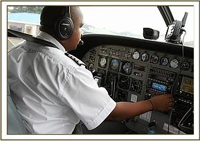 The pilot preparing for take off