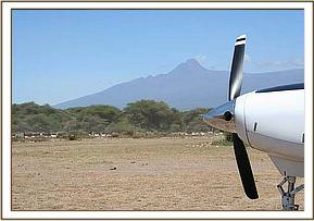 The rescue plane with Masai cattle in the background.