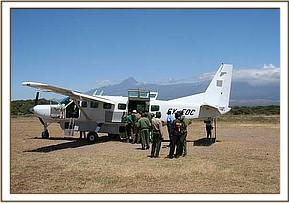 The Cessna Caravan on the Kimana airstrip just before take off.