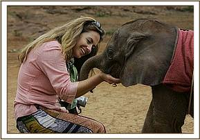 Angela Sheldrick with Makena September 2005