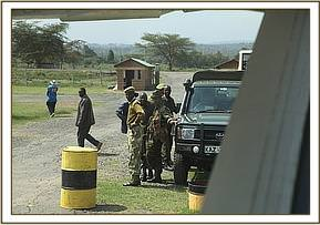 The plane arrives at the Nanyuki airstrip where the KWS team wait with a tiny baby strapped in the back