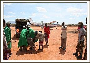 The calf, rescue team, rescue vehicle and rescue aircraft of Kalama airstrip.jpg