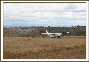The rescue plane lands on the Salt Lick Lodge airstrip.