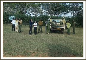 The Voi keepers waiting at the airstrip
