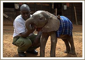 Kinango with Edwin just after arriving at the Nursery