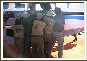 Loading Chyulu into the aircraft