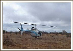 One of the helicopters used in the elephant drive