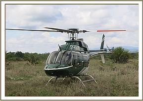 A helicopter is used