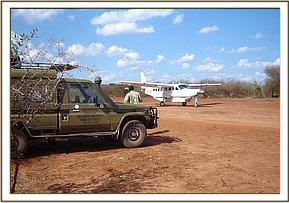 The rescue aircraft arrives at the Ziwani strip