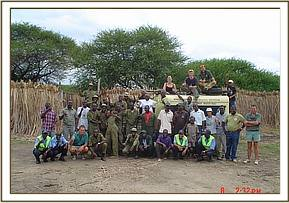 A group photo of all the people who helped with the translocation of the Giraffes