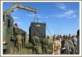 The rhino relocation crate is located