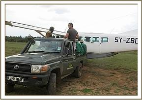 The rescue plane ready for the injured elephant calf