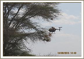 The helicopter assists from the air