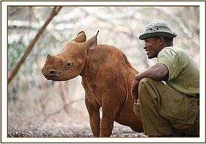 Maalim with one of his keepers