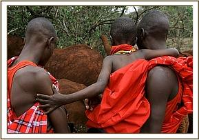 Samburu from Ol Malo trust visiting the orphans