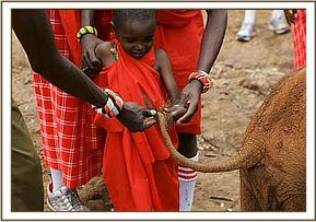 Samburu visiting learn about the orphans