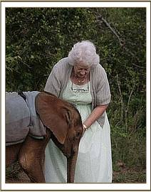 Dr. Dame Daphne Sheldrick with Suguta