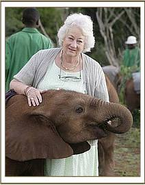 Dr. Dame Daphne Sheldrick with Kenia