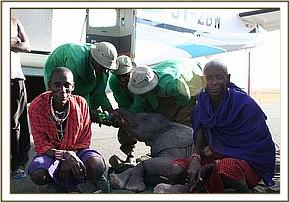 Mawenzi with the men that rescued her