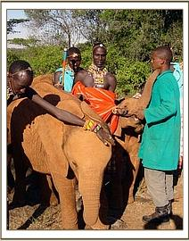 The Samburu warriors who rescued Ndomot visit him