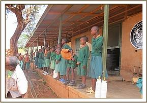School children waiting for the orphans