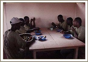 The keepers having dinner in the new canteen