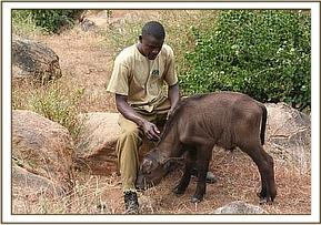 Bahati and one of his keepers